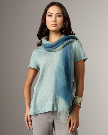Linen V-Neck Top, Women's