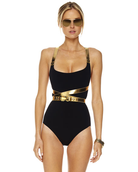 Belted Leather-Contrast Swimsuit
