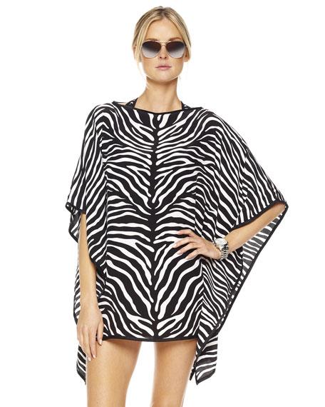 Zebra-Print Draped Caftan