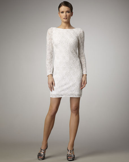 Long-Sleeve Low-Back Lace Dress