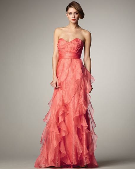 Strapless Ruffled Gown