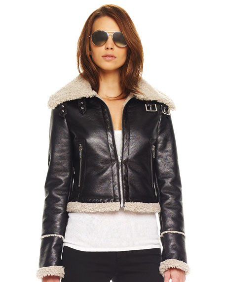 Faux Shearling-Trim Aviator Jacket