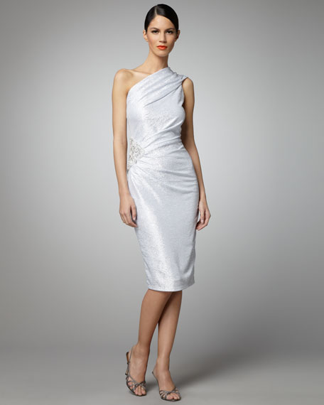 One-Shoulder Metallic Dress