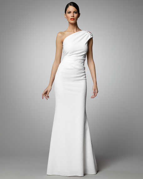 One-Shoulder Chain-Detail Gown