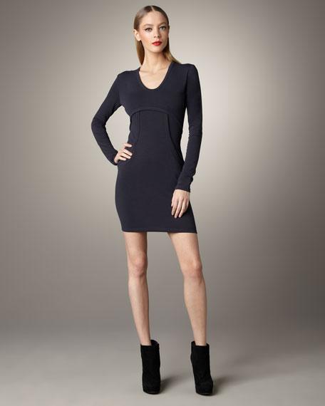 Ponte Long-Sleeve Dress