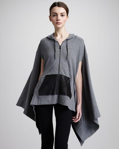 Hooded Zip-Front Cape, Gray