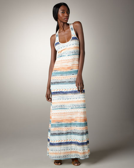 Stripe-Print Maxi Dress