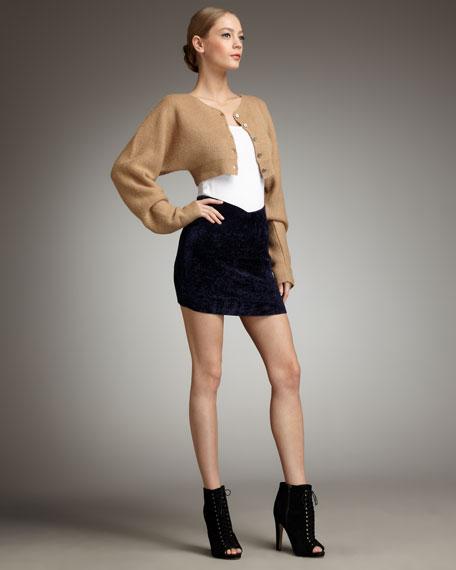 Velvet Rib Scoop-Front Skirt