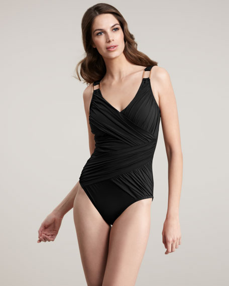 Whittle Waistline Ruched One-Piece