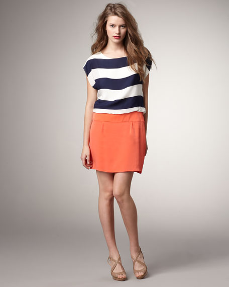 Striped Cap-Sleeve Combo Dress