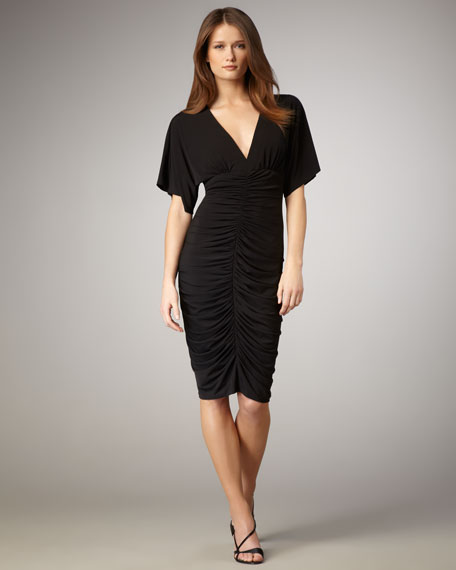 V-Neck Ruched Dress, Women's