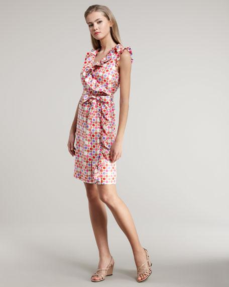 aubrey octagonal-print wrap-dress