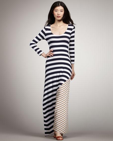 Contrast Striped Maxi Dress