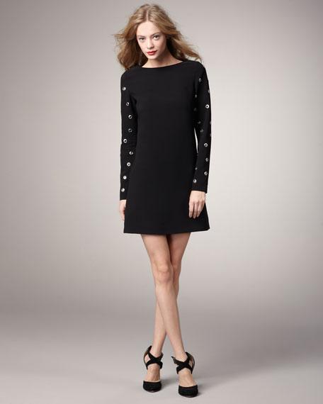 Grommet-Sleeve Shift Dress