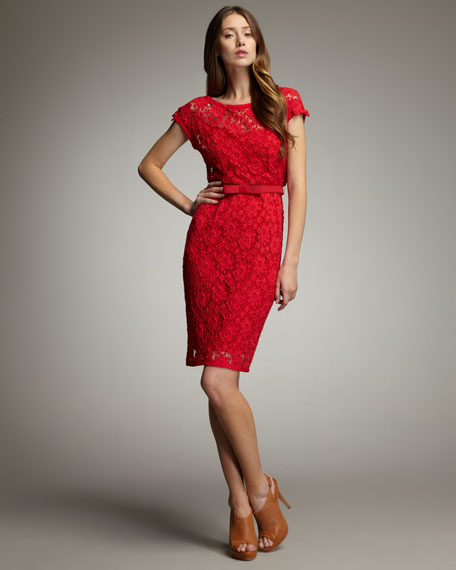 Belted Lace Dress, Campari