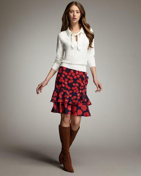 Ruffled Cherry-Print Skirt