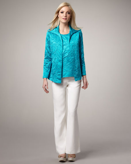 Crushed Satin Jacket, Petite