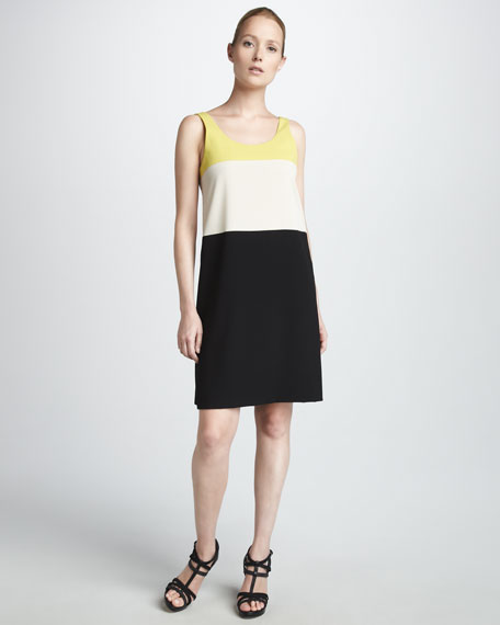 Colorblock Crepe Dress