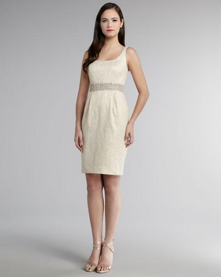 Bead-Trim Brocade Dress