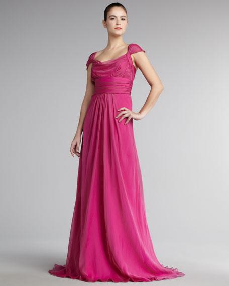 Cap-Sleeve Chiffon Gown