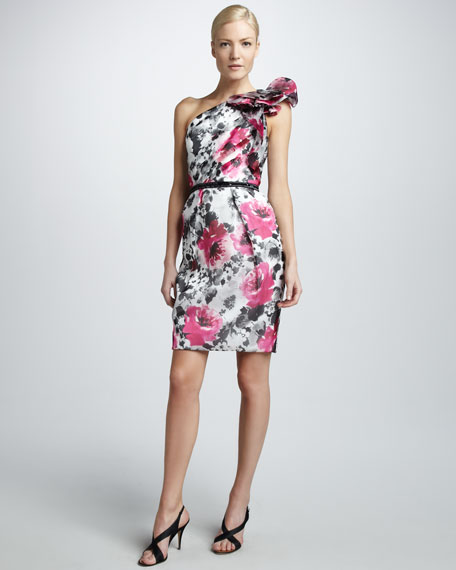 One-Shoulder Floral-Print Dress
