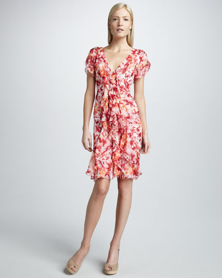 Floral-Print Silk Cocktail Dress