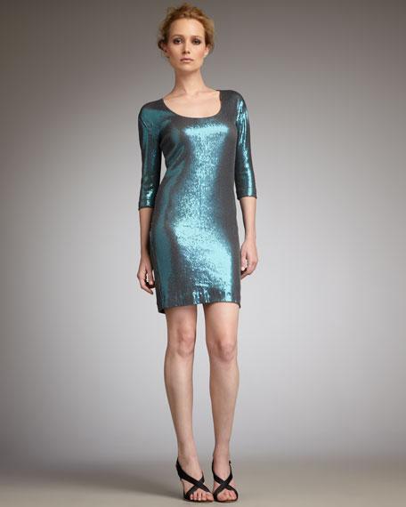 Sequined Three-Quarter-Sleeve Dress