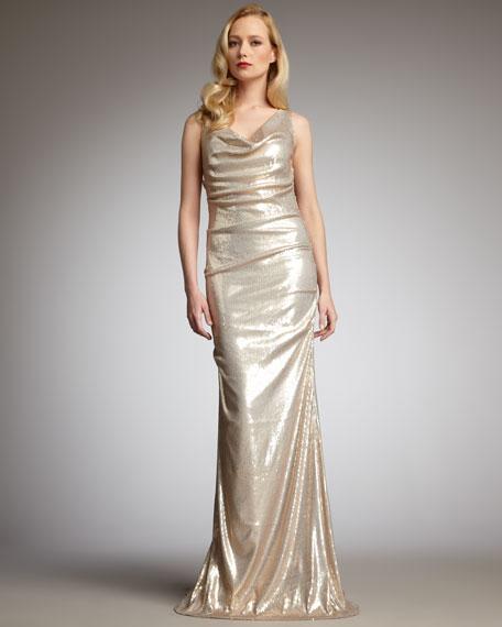 Cowl-Neck Sequin Gown