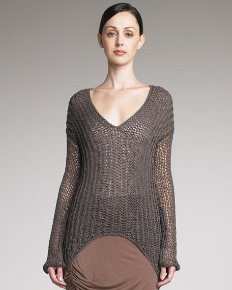 Sheer Knit Long-Sleeve Sweater