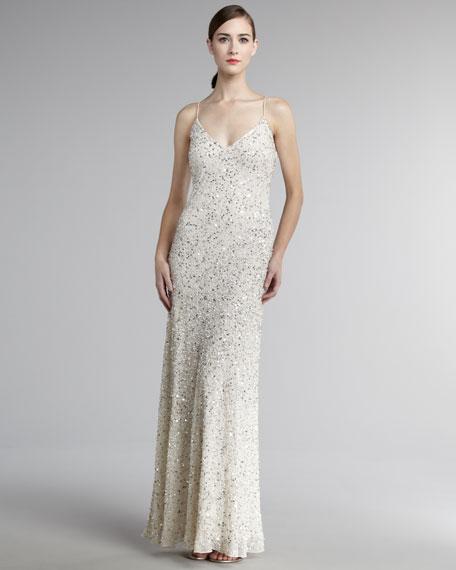 Deep-V Beaded Gown