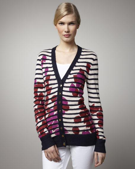 Lorena Printed & Striped Cardigan