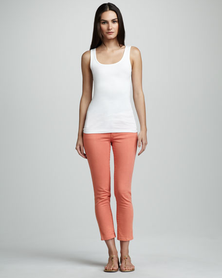Cropped Skinny Jeans, Orange