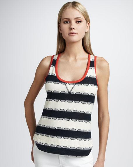 Samantha Lace-Stripe Tank