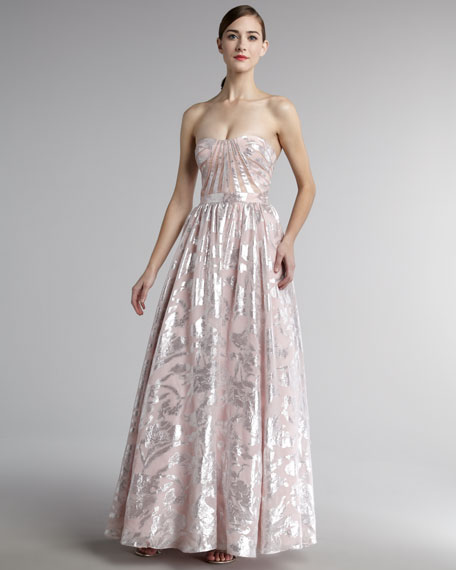 Strapless Metallic Jacquard Gown