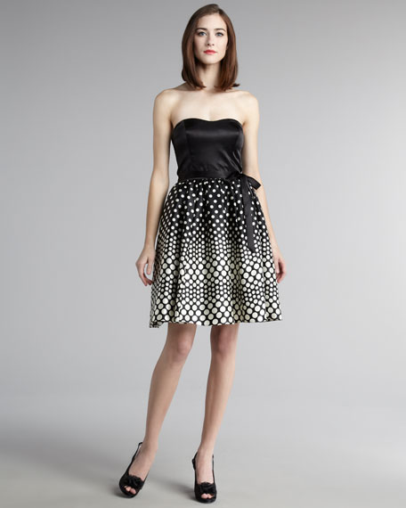 Strapless Dot-Skirt Dress