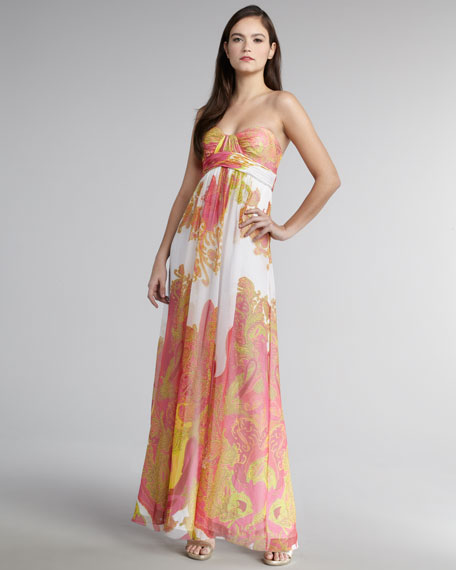 Strapless Paisley-Print Gown