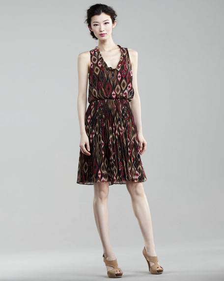 Ikat-Print Blouson Dress