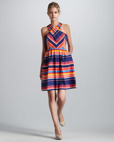 Shae Cross-Neck Striped Dress
