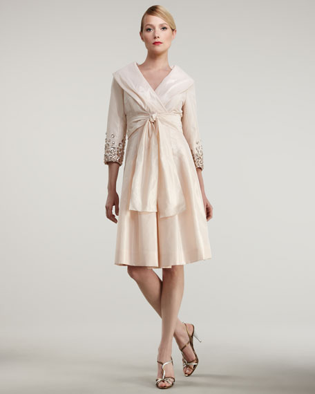 Rickie Freeman for Teri Jon Belted Taffeta Shirtdress