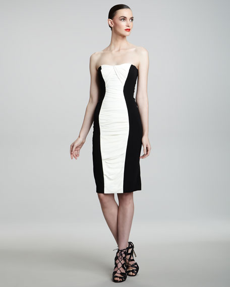 Strapless Colorblock-Inset Dress