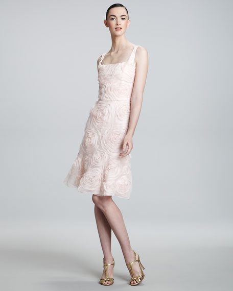 Floral-Applique Sleeveless Dress