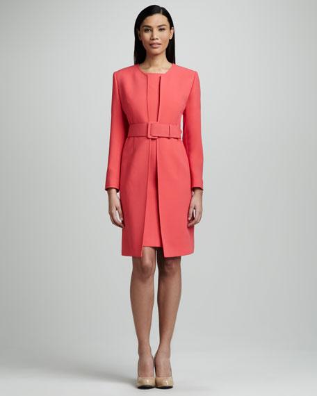 Albert Nipon Belted Coat & Sheath Dress Set