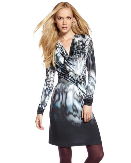 Printed Cowl-Neck Dress