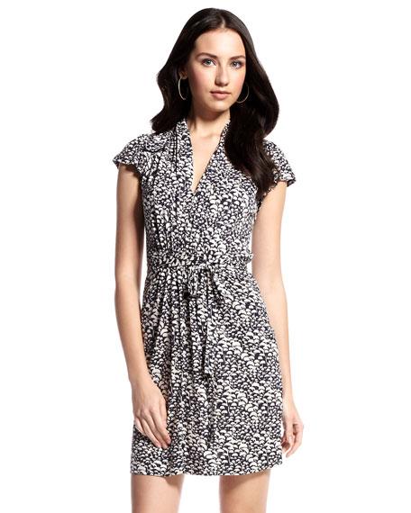 Shell-Printed Tie-Waist Dress