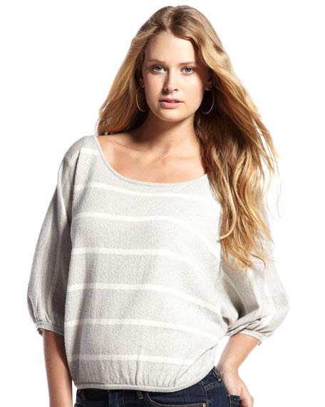 Metallic-Knit Striped Sweater