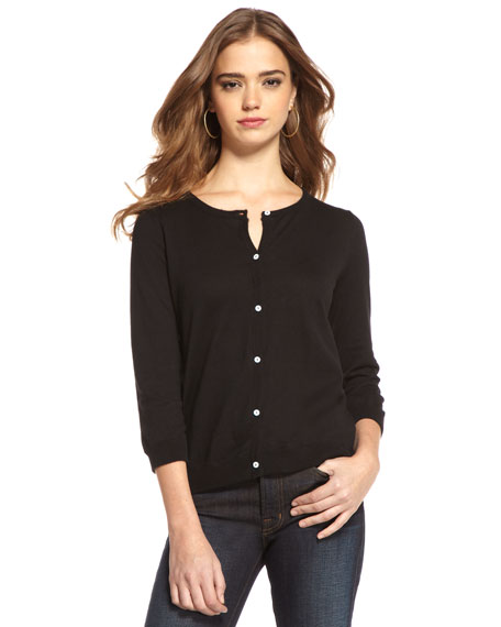 Three-Quarter Sleeve Cardigan, Black
