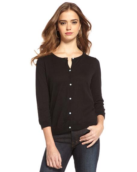 Three-Quarter Sleeve Cardigan, Black