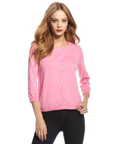 Three-Quarter Sleeve Cardigan, Pink