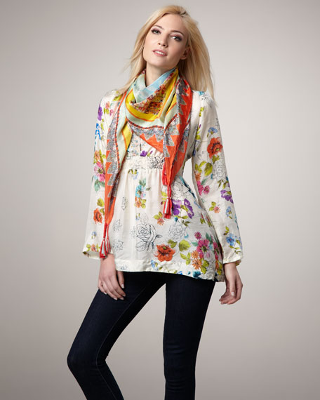 Printed Silk Top, Women's