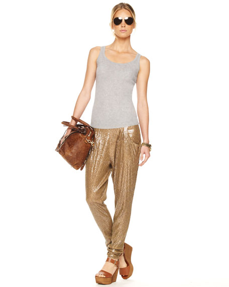 Sequined Deep-Pocket Pants